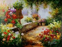 Signed Front Garden Landscape, Stretched Oil Painting On Canvas 30x40 inches