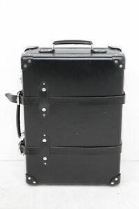 "GLOBETROTTERS Men's Black Leather Chrome 20"" Centenary Vintage Trolley Case"