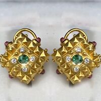 18K Lemon Yellow Gold Green Pink Tourmaline Diamond Square Pyramid Stud Earrings
