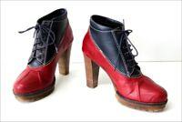 MINELLI Boots à Lacets Cuir Bicolore Rouge et Bleu Hauts Talons T 37 TBE