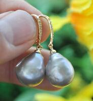 P7338 16mm Gray Drop Baroque Keshi Pearl Dangle Earring CZ
