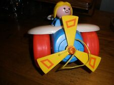 Vintage Fisher Price Airplane & Pilot Pull Toy #171-1980, Made in Usa