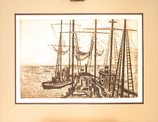 "Engraving Intaglio Nautical  ""Comen In"" Partee '77 Matted Numbered 18.5 X 23.5"""