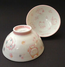 """2 PCS. Japanese 4-1/8""""D Children Porcelain Happy Cats Rice Bowls, Made in Japan"""