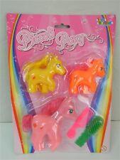 3 PICCOLI PONY colorati + spazzola e pettine TOYS GARDEN T172