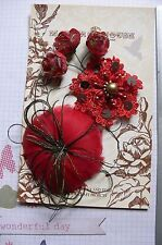 RED BLACK GOLD Fabric Feather Facinator Flower 5 Flower Pk 30-80mm Manor House