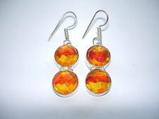 "AB Orange Gold Rainbow Mystic Topaz Earrings .925 Silver Hook Dangle 2"" Handmade"