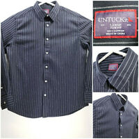 UNTUCKit Slim Fit Mens Large Shirt Long Sleeve Button Up Black Striped