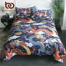 Flying Dragon Bedding Set King Colorful Duvet Cover Clouds Pattern Home Textiles