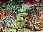 """Vintage Lebanese Tapestry Tigers Hand Loomed Wall Hanging 38"""" Lebanon Art Z3"""