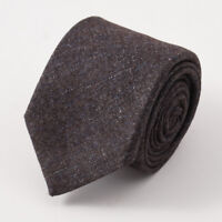 New $225 BATTISTI NAPOLI Handmade Brown-Blue Melange Wool Tie w/ Gift Box
