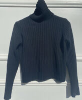 Vintage Benetton Polo Neck Made In Italy Knit Jumper Wool Black Small Ribbed
