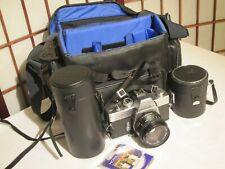 Minolta Srt-201 35mm Slr Film Camera, 3 Lenses, 2 Filters & Geneva Camera Bag