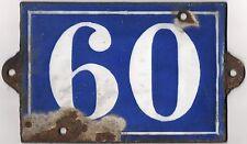 Large C19 French house number 60 porte plaque plaque émail en Fonte Métal Signe