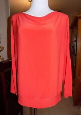 Chaus New York Red Formal Travel Top with Silver-Toned Decorative Beads Medium