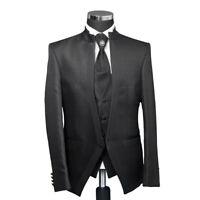 Slim Fit Hochzeitsanzug Schwarz Satin Stehkragen Anzug