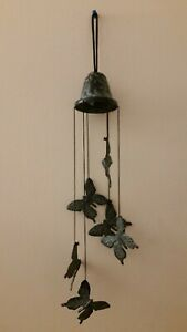 """Vintage 6-Stringed Metal Butterfly Wind Chime 13"""" Hanging/Hood Antique Iron"""