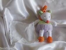 Doudou souris blanc,orange, mauve et vert, mouchoir blanc, Baby Nat, (Babynat)