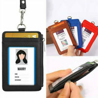 Leather Wallet Work Office ID Credit Card Badge Holder +Neck Strap Lanyard 1pc
