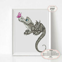 Grey Dragon - Embroidery Cross stitch PDF Pattern - 099
