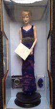 Franklin Mint Princess Diana Porcelain Portrait Doll Of Style Navy Sheath Dress