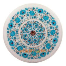 12'' White Marble Coffee Table Top Turquoise Floral Art Inlay Outdoor Decor W281