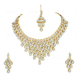 Indian Gold Plated Necklace Bollywood Fashion Jewelry Earrings Set