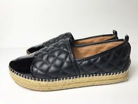 Steve Madden 7 Black Espadrille Platform Quilted Vegan Leather Palamo $100