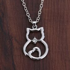 """CRYSTAL CAT PET  LOVE HEART pendant SILVER 18"""" necklace women fashion FREE gift"""