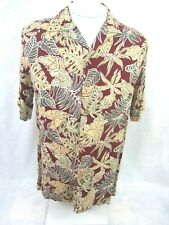 ISLAND SHORES Men Hawaiian ALOHA shirt pit to pit 22 M rayon floral camp luau