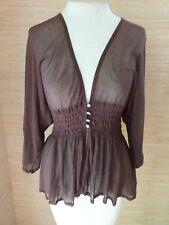 Knitted & Knotted Sheer 3/4 Dolman Sleeve Peplum Top S Brown Slight Hi-Lo Hem