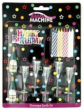 Happy Birthday champagne bottles and flutes candle holders with 8 candles