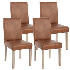 4x chaise de séjour Littau ~ tissu, aspect daim, pieds: structure chêne