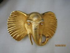 VTG Doreen Ryan Gold Elephant Head Buckle w Black Patent Belt Size Large Italy