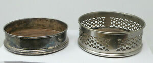 2x Antique Silver Plated Bottle Coasters incl. Pieced Pattern