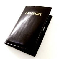 Black World PASSPORT Cover Leather Holder Wallet ID Credit Card USA Seller