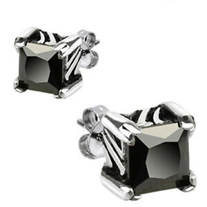 Surgical Stainless Steel Princess Cut Black 7mm CZ Stud Post Earrings