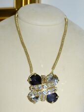 NIB $387 ROCO Rodrigo Otazu Purple Clear Crystals Pendant Necklace Brooch Pin