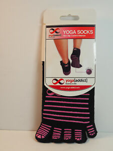 Yoga Socks 5 Toe Socks Size M-L Exercise Cotton Non Slip Socks Yoga Addict New
