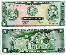 PERU 5 Soles Oro Banknote World Money Currency BILL South America Note p99c 1974