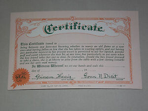 VINTAGE 1941 WEIRD CERTIFICATE TO MARRY A NEW or OLD FLAME PERMIT