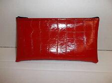 1 Brand New Premium Red Lizard Skin Pattern Leather Like Bank Deposit Money Bag