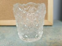 Mosser Glass Clear Daisy & Button Toothpick Votive Candle Holder