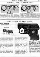 1954 Print Ad of Stoeger Zephyr Handcuffs & Zephyr Starter Pistol