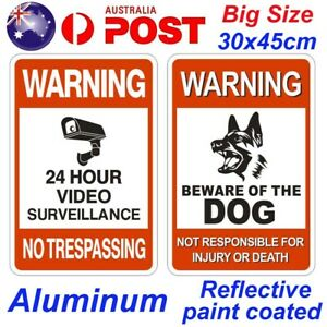 Big Size Metal Warning Sign Video Camera Beware of Dog Guard Signs Gate Home