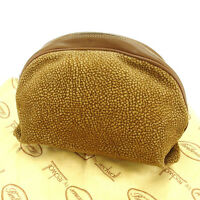 Borbonese Pouch Bag Beige Brown Woman Authentic Used E981