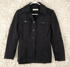 Prada Womens Button Up Collared Peacoat Jacket Black Size EUR 42