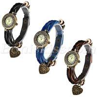 Women's Vintage Multilayer Leather Rope Bracelet Heart Charm Pendant Wrist Watch