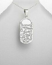 "925 sterling silver pendant w/ message ""live happy, love, smile, choose joy"""