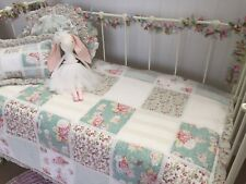 Pretty Floral Patchwork Baby Girls Cot Quilt Set Shabby Chic Nursery Hannah